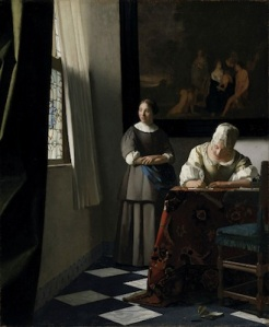 Johannes Vermeer: Lady Writing A Letter With Her Maid