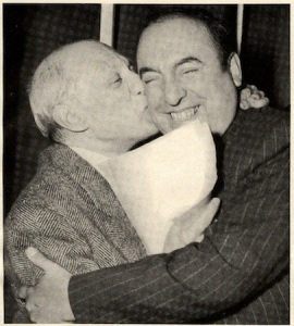 Pablo Picasso (L.) and Pablo Neruda, Salle Pleyel, 1949.